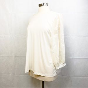 Cece Ivory Lace Sleeve Stretch Crepe Blouse - XL